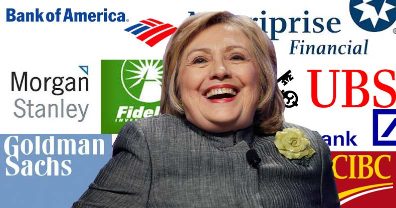 stock market wall street donating to hillary clinton federal reserve