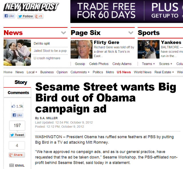 new york post sesame street tell obama to take it down